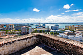 View at the old town with port from the Fortress de San Cristóbal, San Juan, Puerto Rico, Caribbean, USA