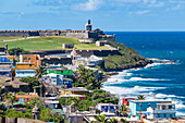 Atlantic coast with view to San Felipe del Morro Fortress, San Juan, Puerto Rico, Caribbean, USA