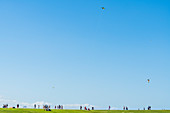 Tourists and locals in front of the San Felipe del Morro Fortress, San Juan, Puerto Rico, Caribbean, USA