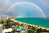 Atlantic Ocean, Beach with Rainbow, San Juan, Puerto Rico, Caribbean, USA