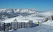 Skiing near Kitzbühel with Kaiser mountain, Winter in Tyrol, Austria