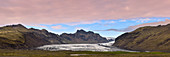 Panoramic view of Skaftafelljökull glacier tongue in Iceland, Europe