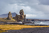 Londrangar rock pinnacles in Snaefellsjökull national park: Hellnar, Iceland, Europe
