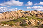 Volcanic rock of rhyolite mountains in in Landmannalaugar region of Iceland, Europe