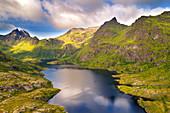 Agvatnet lake in Lofotodden national park on Moskenesoya island, Lofoten, Norway, Europe
