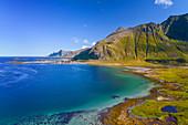 Flakstadoya bay in Lofoten, Norway, Europe