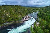 Landschschaft mit Wald und Fluss in der Nähe des Polarkreises, Nordland, Norwegen, Europa
