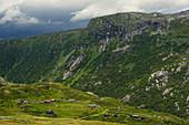 Das Bergdorf Bergsdalen im Hochland von Sognefjellet, Oppland, Fjordane, Norwegen, Europa