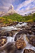Stetind mountain on Tysfjord is Norway's national mountain, Ofoten, Nordland, Norway