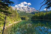 Lake Eib below a blue summer sky in the Zugspitze region, Garmisch-Partenkirchen, Bavaria, Germany, Europe