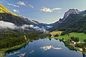 Hintersee lake in evening light, Berchtesgadener Land, Bavaria, Germany, Europe
