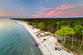Sunset on Darss beach, Baltic Sea, Mecklenburg-Western Pomerania, Germany, Europe