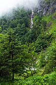 Waterfall in the Höllental gorge near Grainau, Bavaria, Germany, Europe