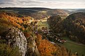 View from the castle ruin Hohengundelfingen, UNESCO Biosphere Reserve Great Lauter Valley, Swabian Alb, Baden-Wuerttemberg, Germany