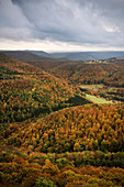 View from Rossberg Tower at the Swabian Alb, autumn colours, Goenningen nearby Reutlingen, Baden-Wuerttemberg, Germany