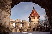 Burg Honberg in Tuttlingen im Winter, Schwäbische Alb, Donau, Baden-Württemberg, Deutschland