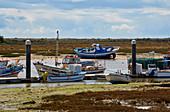 Fischerboote im Naturschutzgebiet Ría Formosa, Conceicao Cabanas, Bei Tavira, Distrikt Faro, Region Algarve, Portugal, Europa