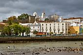View across the river Gilao at the Arabic quarter of Tavira, District Faro, Region of Algarve, Portugal, Europe
