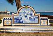 Picture made of tiles (Azulejos) at Olhao, Jardim Pescador Olhanense, Nature reserve Ría Formosa, District Faro, Region of Algarve, Portugal, Europe