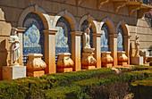Sculpture of marble, Azulejos, Terrace, Palácio de Estói, Pousada, Estói, District Faro, Region of Algarve, Portugal, Europe