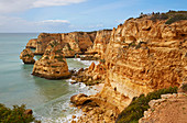 Steep coast and beach Praia da Marinha near Carvoeiro, Atlantic Ocean, District Faro, Region of Algarve, Portugal, Europe