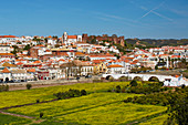 View at Silves with castle and cathedral (Sé), District Faro, Region of Algarve, Portugal, Europe