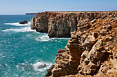 Steep coast near Sagres, Parque Natural do Sudoeste Alentejano e Costa Vicentina, Atlantic Ocean, District Faro, Region of Algarve, Portugal, Europe
