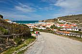 Steep coast and beach of Monte Clérigo, Atlantic Ocean, Parque Natural do Sudoeste Alentejano e Costa Vicentina, Southwest Alentejo and Vicentine Coast Natural Park, District Faro, Region of Algarve, Portugal, Europe