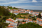View at Odeceixe, White houses with red roofs, Atlantic Ocean, District Faro, Region of Algarve, Portugal, Europe
