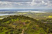 View from Monsaraz at the reservoir of Alqueva, District Évora, Region of Alentejo, Portugal, Europe