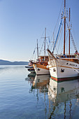Motor sailing ship in the harbour of Krk on the island Krk, kvarner bay, Mediterranean Sea, Primorje-Gorski kotar, North Croatia, Croatia, Southern Europe, Europe