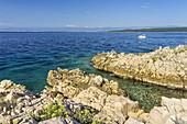 Felsen in Glavotok auf der Insel Krk, Kvarner Bucht, Primorje-Gorski kotar, Nordkroatien, Kroatien, Südeuropa, Europa