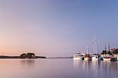 Sailing ships in the harbour of Rab, island Rab, kvarner bay, Mediterranean Sea, Primorje-Gorski kotar, North Croatia, Croatia, Southern Europe, Europe