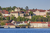View over lake Constance to Meersburg with castle Meersburg and the New Castle, Baden, Baden-Wuerttemberg, South Germany, Germany, Central Europe, Europe