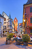 Restaurant Bären, Obertor and Hotel Löwen on the market square in the old town of Meersburg on lake Constance, Baden, Baden-Wuerttemberg, South Germany, Germany, Central Europe, Europe