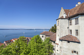 View of the harbour and old town of Meersburg on lake Constance, Baden, Baden-Wuerttemberg, South Germany, Germany, Central Europe, Europe