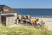 Cafe at the beach in Wyk, North Frisian Island Föhr, North Sea, Schleswig-Holstein, Northern Germany, Germany, Europe
