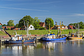 Fishing boats in the harbour of Greetsiel, North Sea, East Frisia, Lower Saxony, Northern Germany, Germany, Europe