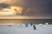 Clouds on the beach with beach chairs in Hörnum, North Frisian Island Sylt, North Sea coast, Schleswig-Holstein, Northern Germany, Germany, Europe