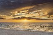 Sunrise at the beach in Hörnum, North Frisian Island Sylt, North Sea coast, Schleswig-Holstein, Northern Germany, Germany, Europe