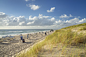 Beach with beach chairs in Hörnum, North Frisian Island Sylt, North Sea coast, Schleswig-Holstein, Northern Germany, Germany, Europe