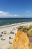 Beach Rotes Kliff with beach chairs in Kampen, North Frisian Island Sylt, North Sea coast, Schleswig-Holstein, Northern Germany, Germany, Europe