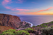 View from La Merica to harbour Vueltas in Valle Gran Rey, La Gomera, Canary Islands, Canaries, Spain