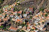 Blick von Las Pilas auf Häuser von Valle Gran Rey, Las Pilas, La Gomera, Kanarische Inseln, Kanaren, Spanien