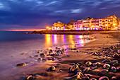 Abendlicher Strand von La Playa, Valle Gran Rey, La Gomera, Kanarische Inseln, Kanaren, Spanien