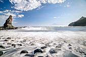 Breaking of waves at beach of Playa de la Caleta, Hermigua, La Gomera, Canary Islands, Canaries, Spain
