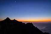 Evening mood at Mirador Ermita del Santo with view towards La Merica and Atlantic Ocean, from Arure, La Gomera, Canary Islands, Canaries, Spain