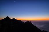 Abendstimmung am Mirador Ermita del Santo mit Blick auf La Merica und Atlantik, von Arure, La Gomera, Kanarische Inseln, Kanaren, Spanien