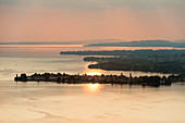 View over Lindau and Lake Constance from Pfaender Mountain at sunset, Bregenz, Vorarlberg, Austria