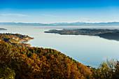 Überlinger See bei Sipplingen im Herbst, Blick vom Haldenhof, Überlingen, Bodensee, Baden-Württemberg, Deutschland